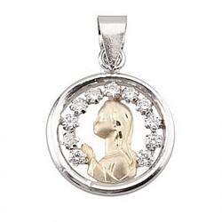 Colgante oro 18k y plata Ley medalla Virgen Niña [4965]