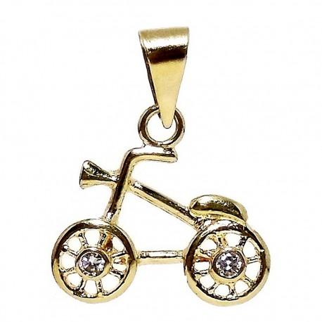 Colgante oro 18k bicicleta dos circonitas [4967]