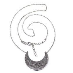 Gargantilla plata Ley 925m mujer 42cm rodiada luna invertida azteca dibujos cenefas cierre mosquetón