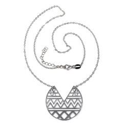 Gargantilla plata Ley 925m mujer 41cm. rodiada luna invertida azteca centro cenefa calada mosquetón