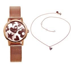 Juego Agatha Ruiz de la Prada reloj AGR249 rosado gargantilla plata Ley 925m corazón rosa circonitas