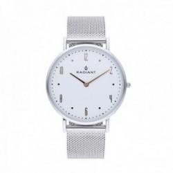 Reloj Radiant hombre Jensen White Silver RA515601 pulsera malla milanesa esfera detalles rosados