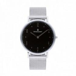 Reloj Radiant hombre Jensen Black Silver RA515602 pulsera malla milanesa acero inoxidable