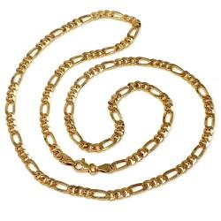 Cadena oro 18k hueca 60cm. eslabón 3x1 cadena alterna 10.85gr. cierre mosquetón