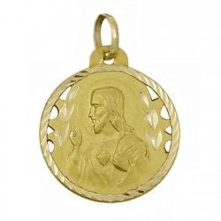 Medalla oro 18k escapulario Virgen Carmen y Corazón Jesús [5017]