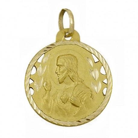 Medalla oro escapulario Virgen del Carmen y Corazon de Jesús [5017]