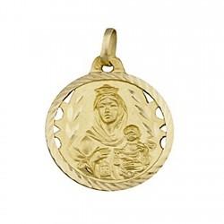 Medalla oro 18k escapulario Virgen del Carmen y Corazon Jesús [5018]