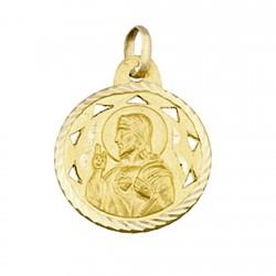 Medalla oro 18k escapulario Virgen del Carmen y Corazon Jesús [5019]