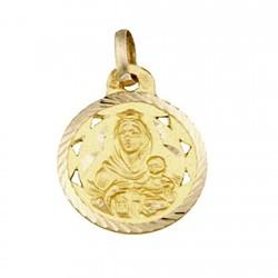 Medalla oro 18k escapulario Virgen del Carmen y Corazon Jesús [5020]