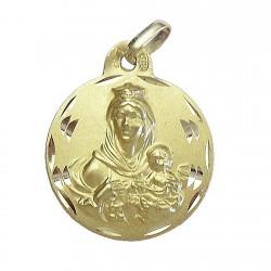 Medalla oro 18k escapulario Virgen del Carmen y Corazon Jesús [5021]