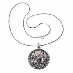 Colgante plata Ley 925m medalla 35mm. Virgen Lourdes cerco cadena 45cm. cola topo lisa cuadrada