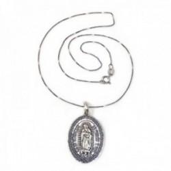 Colgante plata Ley 925m Virgen Guadalupe México 29mm. ovalada cadena 40cm. veneciana rodiada reasa