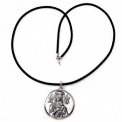Colgante plata Ley 925m medalla 30mm. Virgen Perpetuo Socorro cordón caucho 45cm terminaciones plata