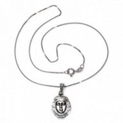 Colgante plata Ley 925m rostro 21mm. Virgen del Rocio cadena 40cm. veneciana rodiada cierre reasa