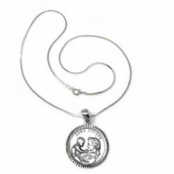 Colgante plata Ley 925m Virgen Madre 27mm AMOR ETERNO borde tallado cadena 40cm cola topo diamantada