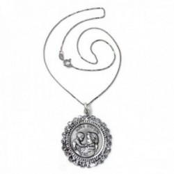 Colgante plata Ley 925m Virgen Madre 36mm. redonda cerco cadena 40cm. veneciana rodiada cierre reasa