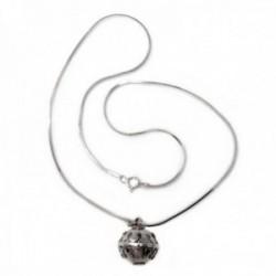 Colgante plata Ley 925m llamador de ángeles diámetro 14mm. cerrado cadena 40cm. cola topo diamantada
