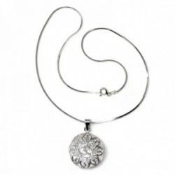 Colgante plata Ley 925m símbolo OM 22mm. calado redondo cadena 40cm. cola topo diamantada reasa