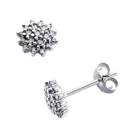 Pendientes oro blanco 18k 38 diamantes brillantes 0,24ct [7414]
