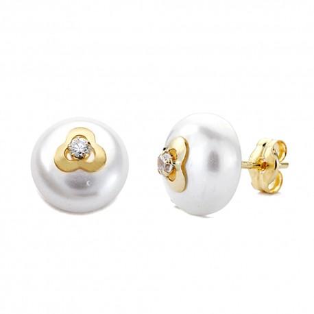 Pendientes oro 18k perla trébol circonita 9mm. [AA0250]