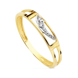 Sortija oro bicolor 18k curvas circonitas engastadas calada bandas ancho 3mm. primera comunión niña