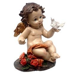 Figura ángel sentado resina sintética paloma flores con peana [AC1530]