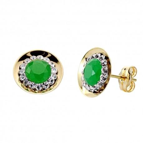 Pendientes oro 18k piedra color verde circonitas 10mm. [AA0295]