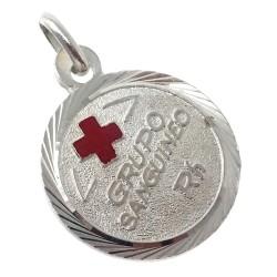 Chapa plata Ley 925m redonda cruz roja 16mm. filo labrado [AB5538]