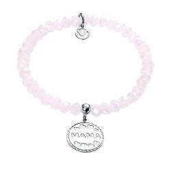 Pulsera plata Ley 925m Viceroy elástica chapa MAMÁ corazones bolas cristales rosas 1198P000-90