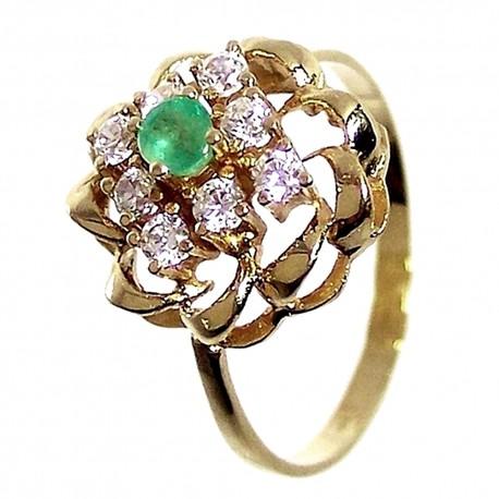 Sortija oro 18K flor centro esmeralda circonita Peso: 2,9gr. [165]