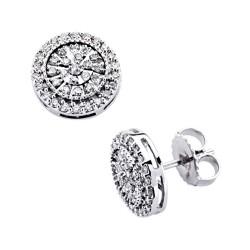 Pendientes oro blanco 18k diamantes brillantes 0,5ct [7384]