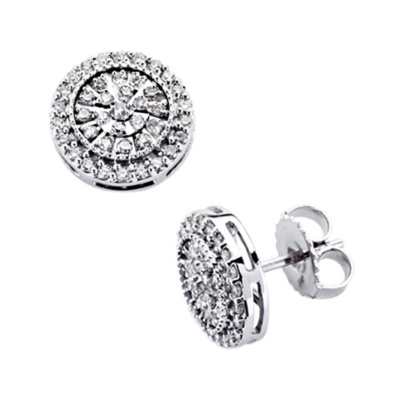 nuevo estilo d3502 ae861 Pendientes oro blanco 18k diamantes brillantes 0,5ct [7384]