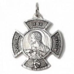 Colgante plata Ley 925m medalla 42mm. cruz Apostolado de la Oración Corazón de Jesús macizo
