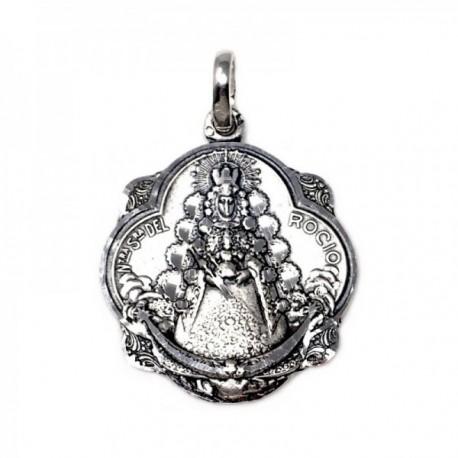 Colgante plata Ley 925m medalla 32mm. Virgen del Rocío maciza pandereta detalles tallados