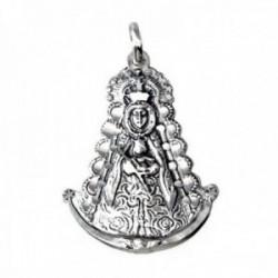 Colgante plata Ley 925m imagen Virgen del Rocío 38mm. silueta detalles tallados maciza