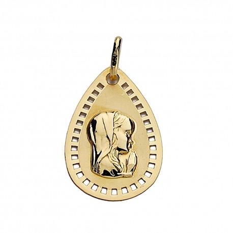 Medalla oro 18k Virgen Niña 19mm. lágrima calada [9010]