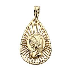 Medalla oro 18k colgante 22mm. Virgen Niña forma lágrima centro calado