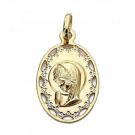 Medalla oro 18k Virgen Niña 23mm. calada cerco [9027]