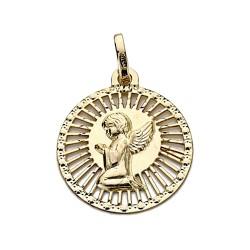 Medalla oro 18k angelito 21mm. cerco calada [9028]