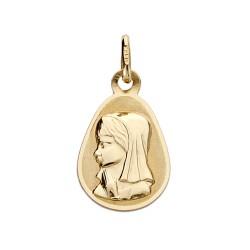 Medalla oro 18k Virgen Niña gota 17mm. [AA0179]