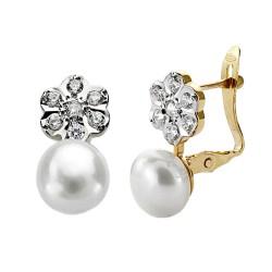 Pendientes oro 18k perla botón flor [AA0357]