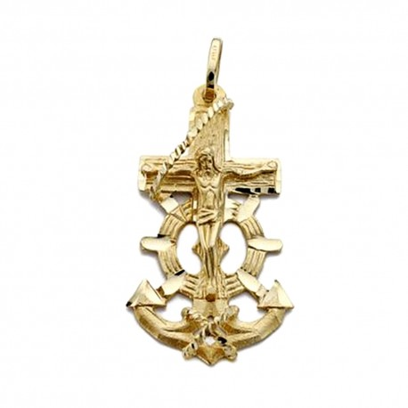 Colgante cruz oro 18k marinera Cristo 35mm. [AA0491]