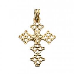 Colgante cruz oro 18k Canjáyar 31mm. detalles círculos calados mujer
