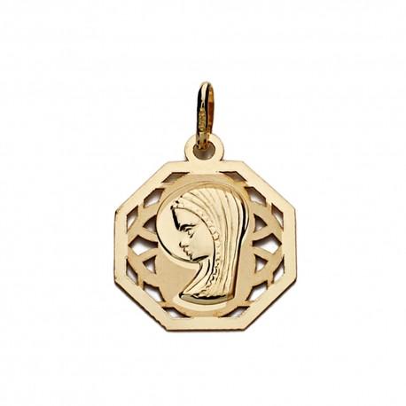 Medalla oro 9k Virgen Niña 17mm. [AA0750]