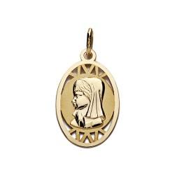 Medalla oro 9k colgante 20mm. Virgen Niña oval detalles calados