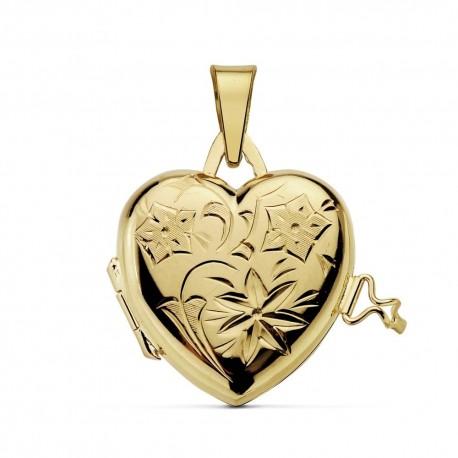 Colgante oro 18k portafotos corazón labrado 23mm. liso detrás