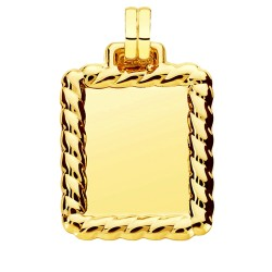 Colgante oro 18k chapa rectangular 31mm. unisex