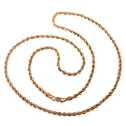 Cordón oro 18k salomónico 60cm. ligero ancho 3mm. unisex cierre mosquetón