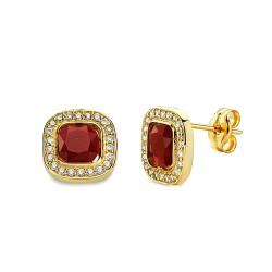 Pendientes oro 18k piedra roja cuadrada 9mm. circonitas [AA2349]