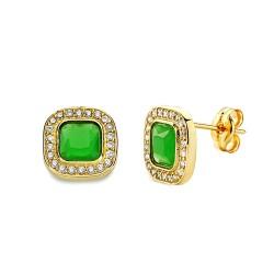 Pendientes oro 18k piedra verde cuadrada 9mm. circonitas [AA2350]